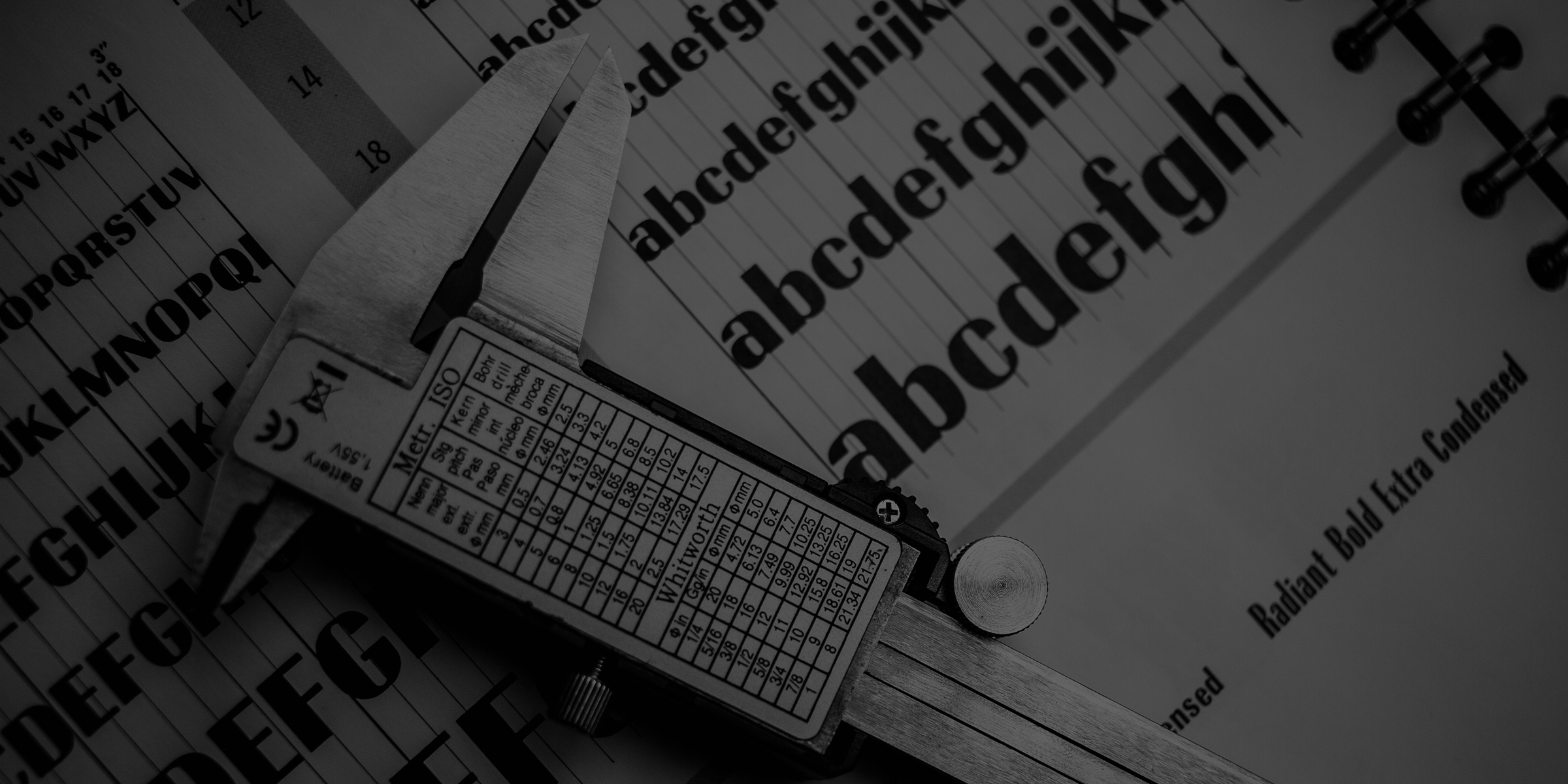 Ludlow Radiant type specimen background, photo by Josh Korwin